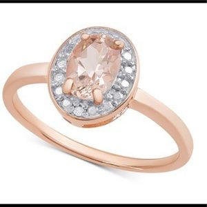 Morganite & Diamond Accent Ring in rose gold NWT